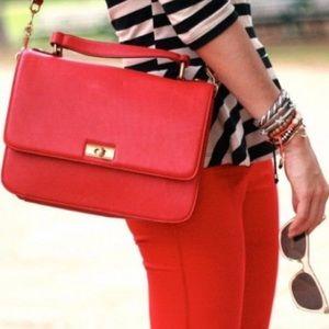 J Crew Red Edie satchel leather bag